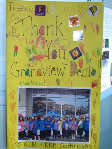 grandview corners dental oral health elementary school visit card